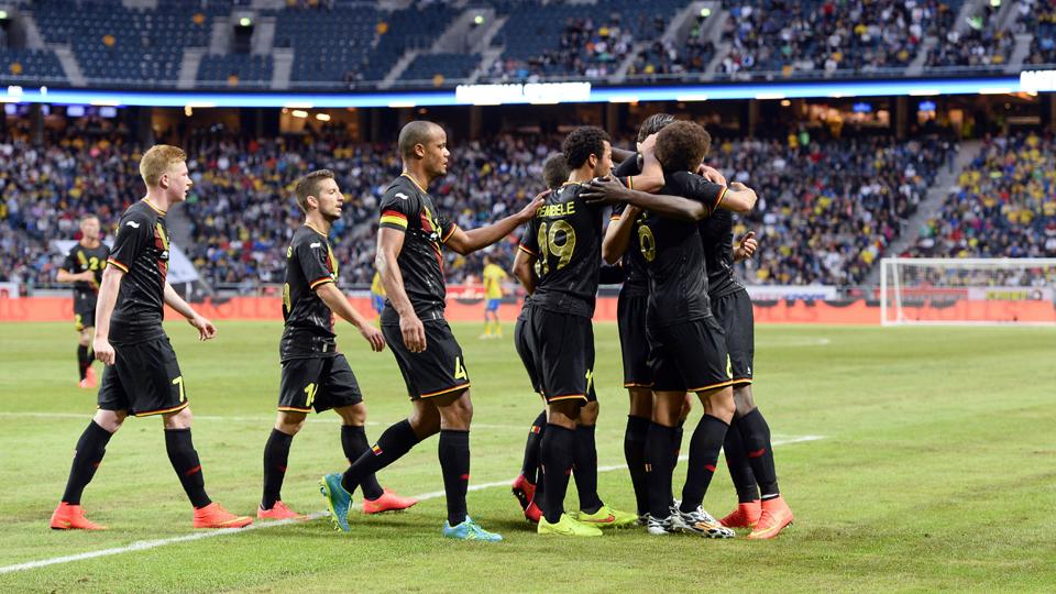 Belgium celebrates Romelu Lukaku's goal during a 2-0 friendly win over Sweden on Sunday.