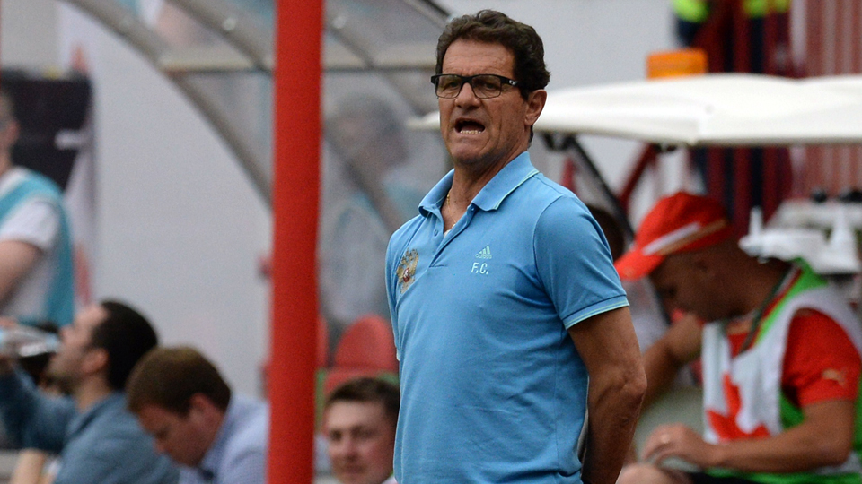 Russia manager Fabio Capello looks on as his side beats Morocco 2-0 in a pre-World Cup friendly on Friday.