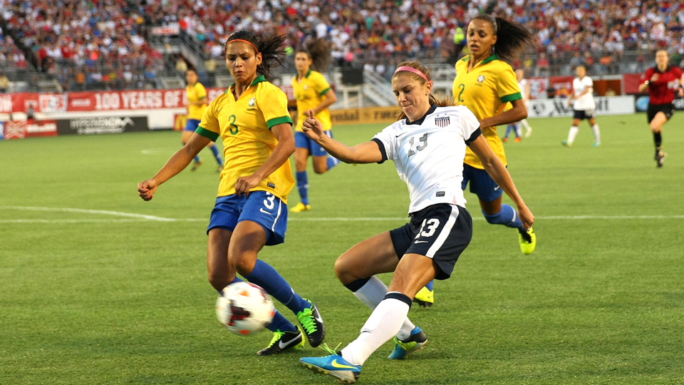 U.S. women's national team star Alex Morgan, pictured above last November against Brazil, returned from a nearly seven-month layoff to play for the Portland Thorns Saturday night.