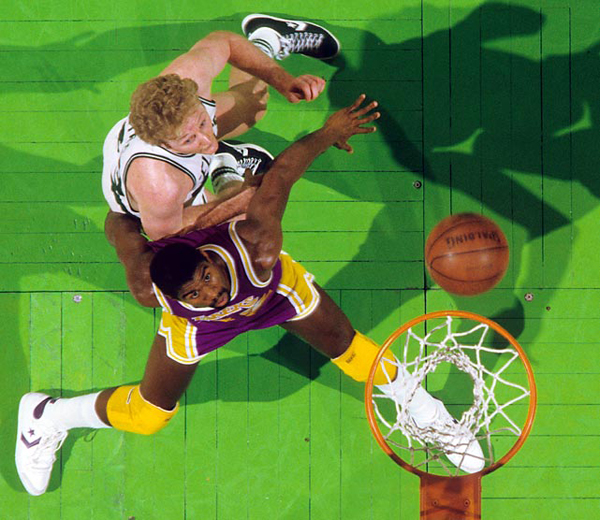 Larry Bird and Magic Johnson :: Manny Millan/SI