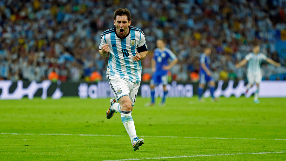 Argentina star Lionel Messi shouts in jubilation after scoring a wondrous goal against Bosnia-Herzegovina on Sunday night in Rio de Janeiro.
