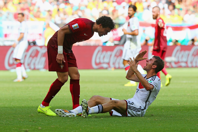 Germany's Thomas Muller reacts to Portugal defender Pepe's headbutt during their Group G matchup on Monday.