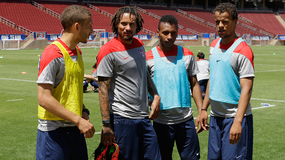 From left, Fabian Johnson, Jermaine Jones, Julian Green and Timmy Chandler are among five German-American players on the U.S. World Cup squad. Not pictured is the fifth of the bunch, John Brooks, who scored the dramatic winner vs. Ghana on Monday.