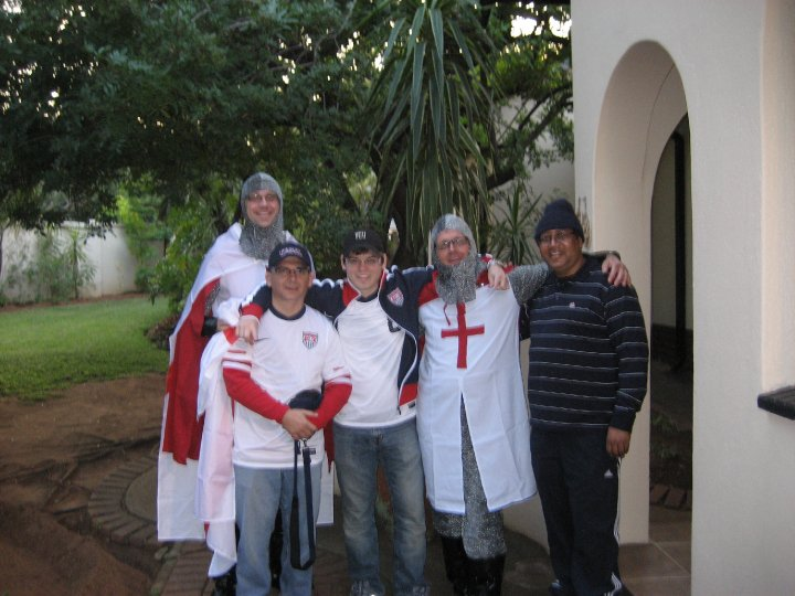 Josh Davis with his father, uncles and host in Johannesburg on the day of the USA-England match in 2010.