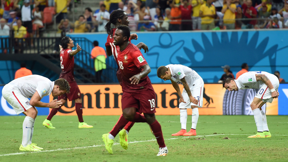 USA defenders can only bow in disbelief after Silvestre Varela's 95th-minute equalizer forced a 2-2 draw between Portugal and the USA.