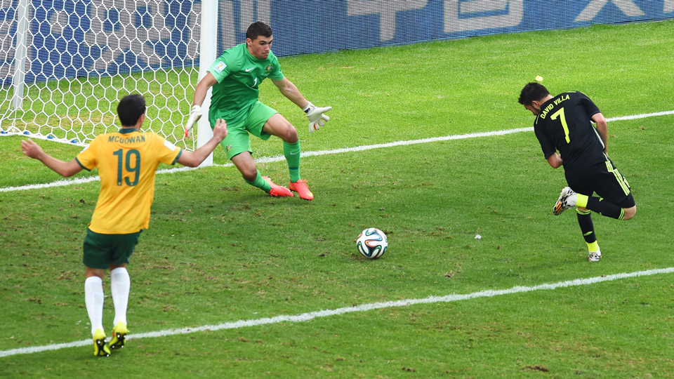 Spain's David Villa watches his back-heel attempt go into the net for the final goal of his international career.
