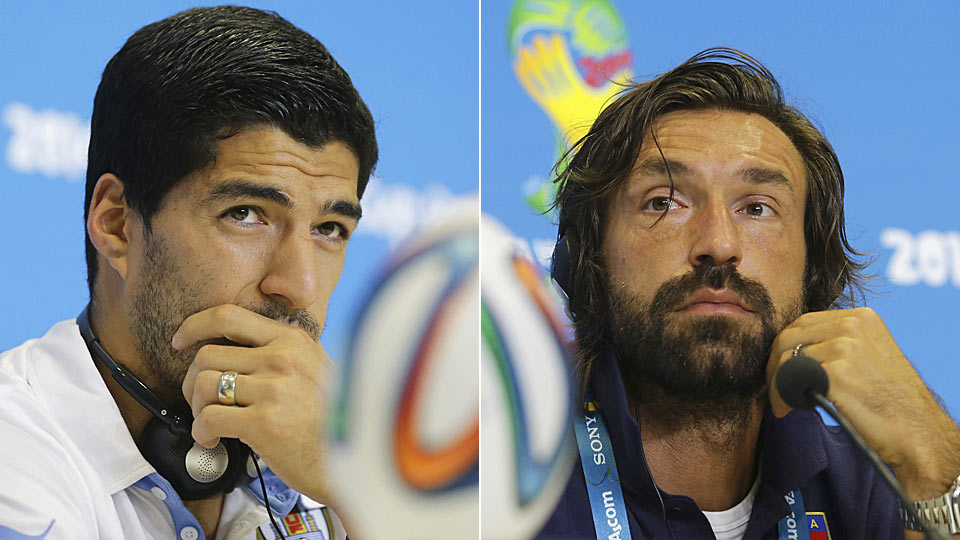 Uruguay's Luis Suarez and Italy's Andrea Pirlo prepare to face each other on Tuesday with a spot in the knockout round on the line,