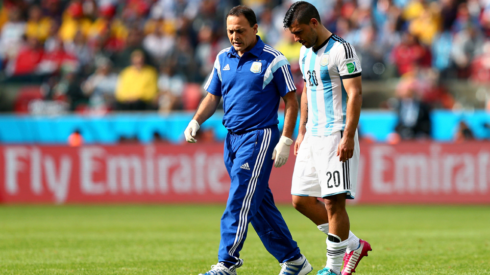 Sergio Aguero, right, will miss Argentina's round of 16 match against Switzerland with a thigh injury.