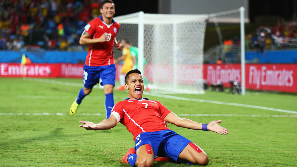 Chile's Alexis Sanchez (7) will hope for more celebratory slides against World Cup host Brazil in Saturday's knockout-stage encounter.