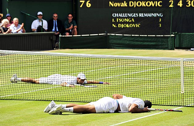Tsonga and Djokovic drove each other to exhaustion at Wimbledon 2011. Djokovic won in four sets.