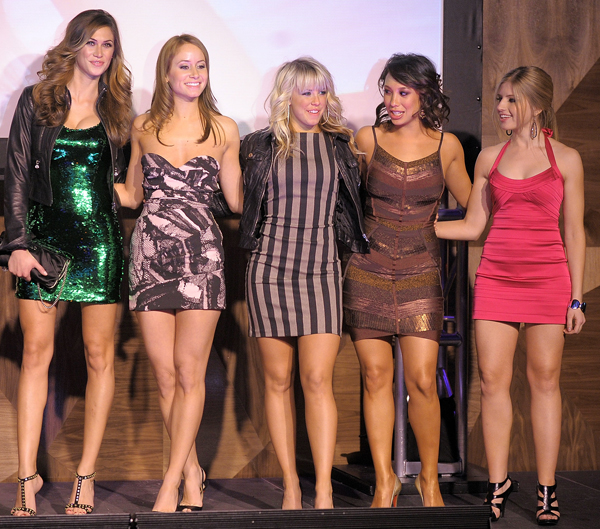 With 2010 SI Swimsuit featured models (L to R) Melissa Satta, Chelsie Hightower, and Clair Bidez
