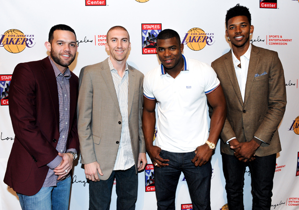 Jordan Farmar, Steve Blake, Yasiel Puig and Nick Young :: Getty Images