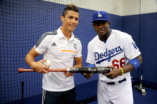 Cristiano Ronaldo and Yasiel Puig :: Getty Images