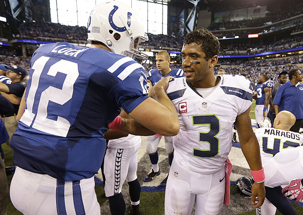 Image result for russell wilson andrew luck