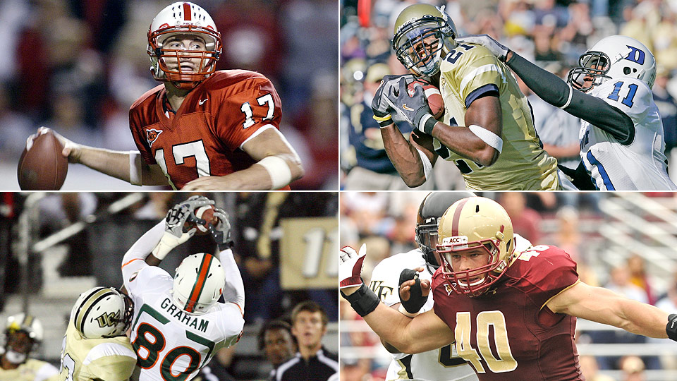 Clockwise from top left: Philip Rivers at NC State; Calvin Johnson at Georgia Tech; Luke Kuechly at Boston College; Jimmy Graham at Miami