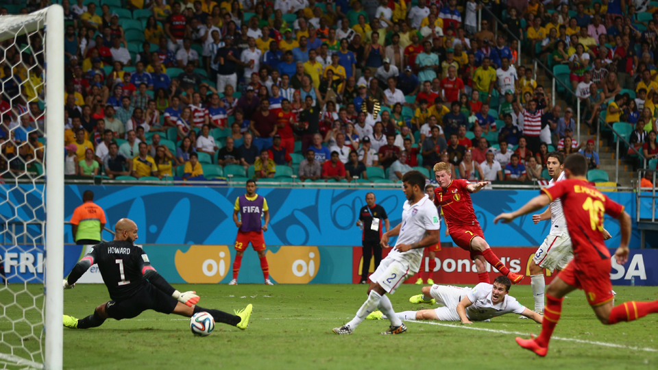 Kevin de Bruyne scores the opening goal for Belgium in extra time of the Red Devils' 2-1 win over the USA in the World Cup round of 16.