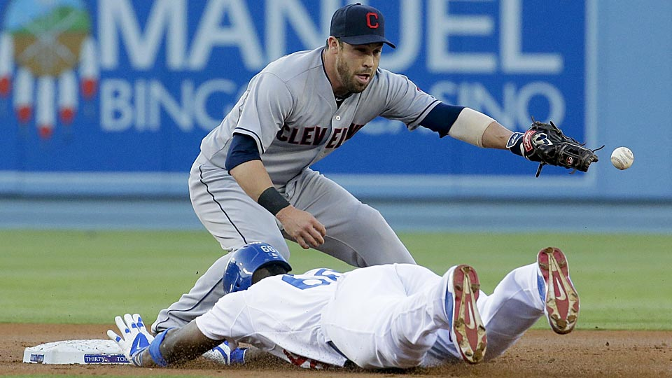 Indians second baseman Jason Kipnis tagged out the Dodgers' Yasiel Puig for the third out of Cleveland's triple play.