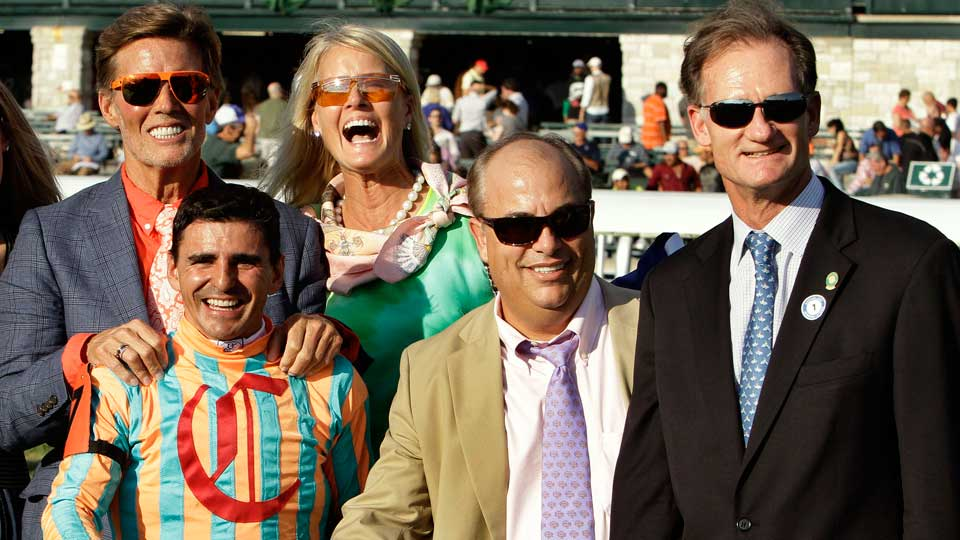 Ernie Semersky (above, far left) celebrates My Conquestadory's win in last October's Alcibiades Stakes at Keeneland with (clockwise from back center) co-owner Dory Newell, Jimmy Bell, of race sponsor Darley, trainer Mark Casse and jockey Eurico Da Silva.