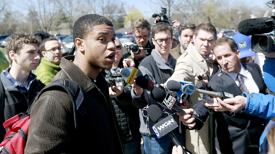 Ex-Northwestern football player Michael Odom addressed reporters on April 25 as former teammates voted on whether to approve a players union, which universities like Northwestern haven't supported.
