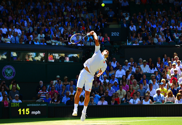 Novak Djokovic broke Grigor Dimitrov to take the lead at 3-2.