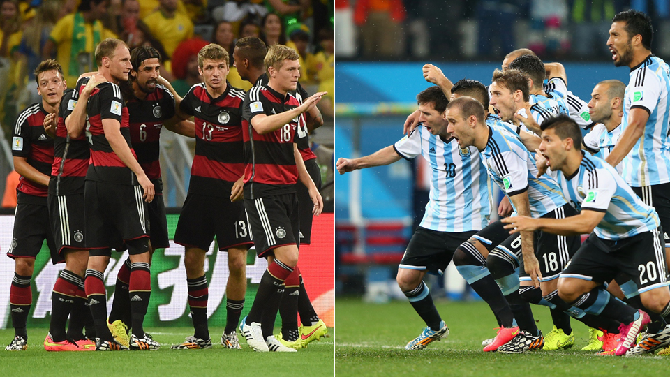 Germany, left, and Argentina will meet in Sunday's World Cup final in Rio de Janeiro.