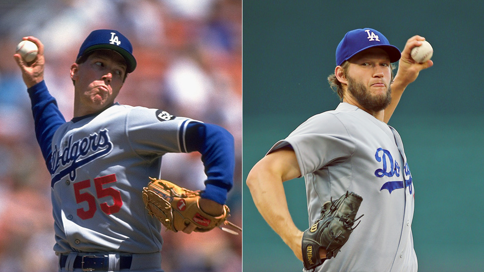 While he fell short of Orel Hershiser (left), Clayton Kershaw (right) went an entire month with just one opposing baserunner earning his way to third.