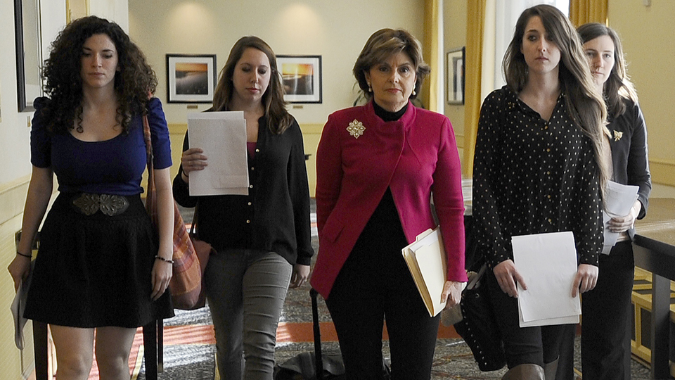 Attorney Gloria Allred, center, with UConn students Rose Richi, left, Erica Daniels, Carolyn Luby, second from right, and Kylie Angel. They filed a sexual assault lawsuit that was settled by the school.