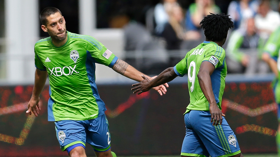 Clint Dempsey, left, and Obafemi Martins have formed one of the most lethal attacking tandems in MLS, leading the Seattle Sounders to the league's top record.