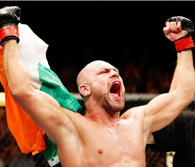 Irishman Cathal Pendred celebrates his submission victory over Mike King.