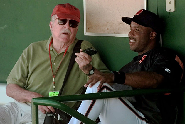 Angell at first kept to the ballpark stands, but eventually he became comfortable interviewing players, from minor leaguers to superstars such as Barry Bonds.