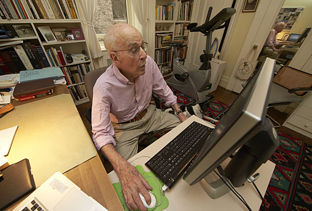 Roger Angell at home