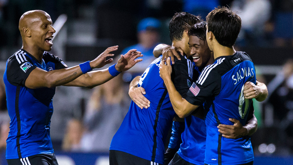 Yannick Djalo, second from right, is congratulated by his San Jose Earthquakes teammates after scoring in a 5-1 rout of the Chicago Fire Wednesday night.