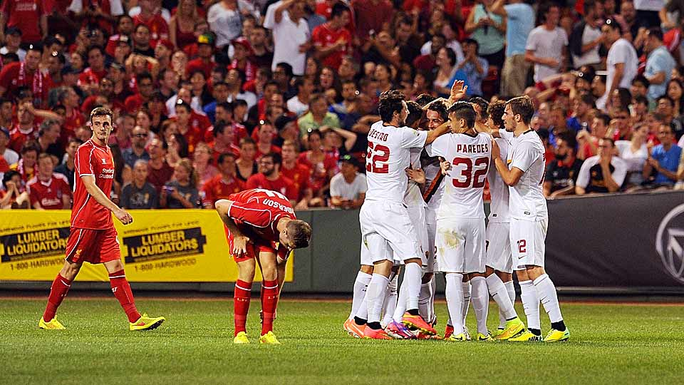 Marco Borriello broke a scoreless draw in the 90th minute to lift AS Roma over Liverpool FC at Fenway Park in Boston.