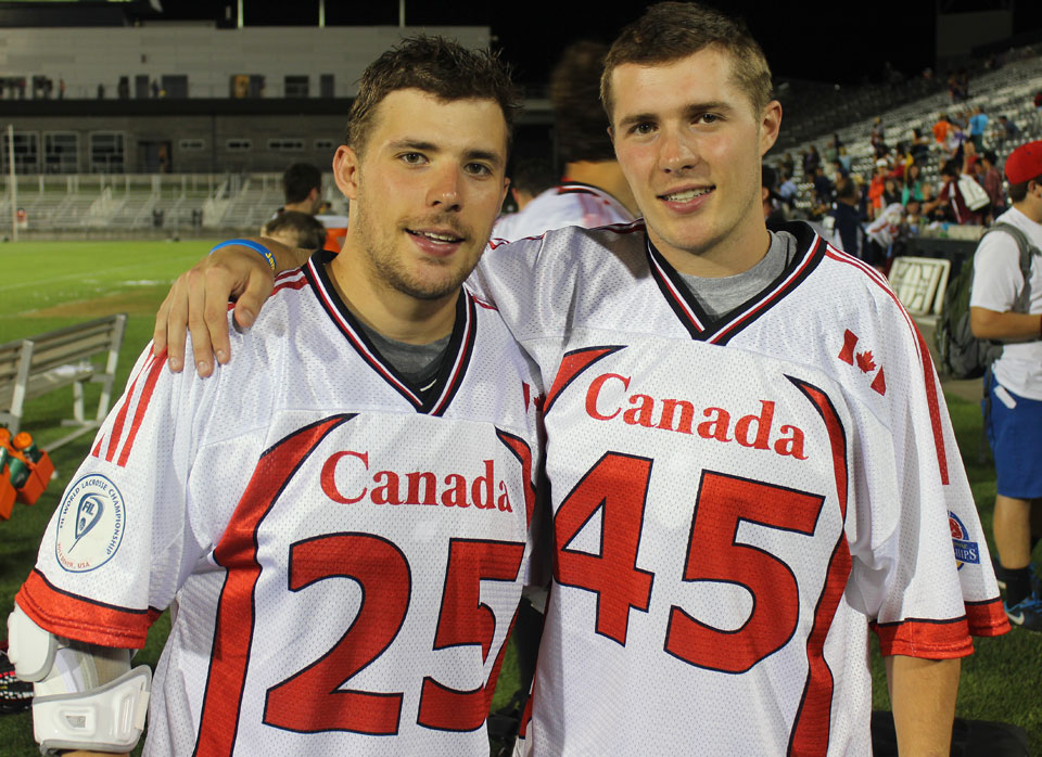 Jeremy (left) and Jason Noble helped lead Canada to the World Lacrosse Championship in Denver earlier this month.