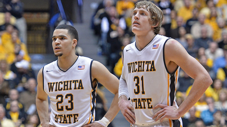Fred VanVleet (L) and Ron Baker will have their first chance to show Wichita State will be a threat in 2014-15 against Memphis.