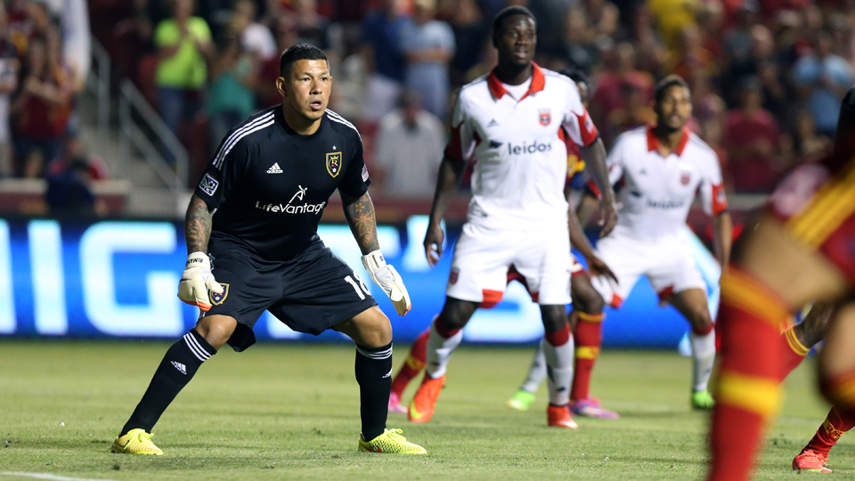 An alert Nick Rimando defends his goal en route to an MLS-record 113th career shutout as Real Salt Lake topped D.C. United 3-0 on Saturday.