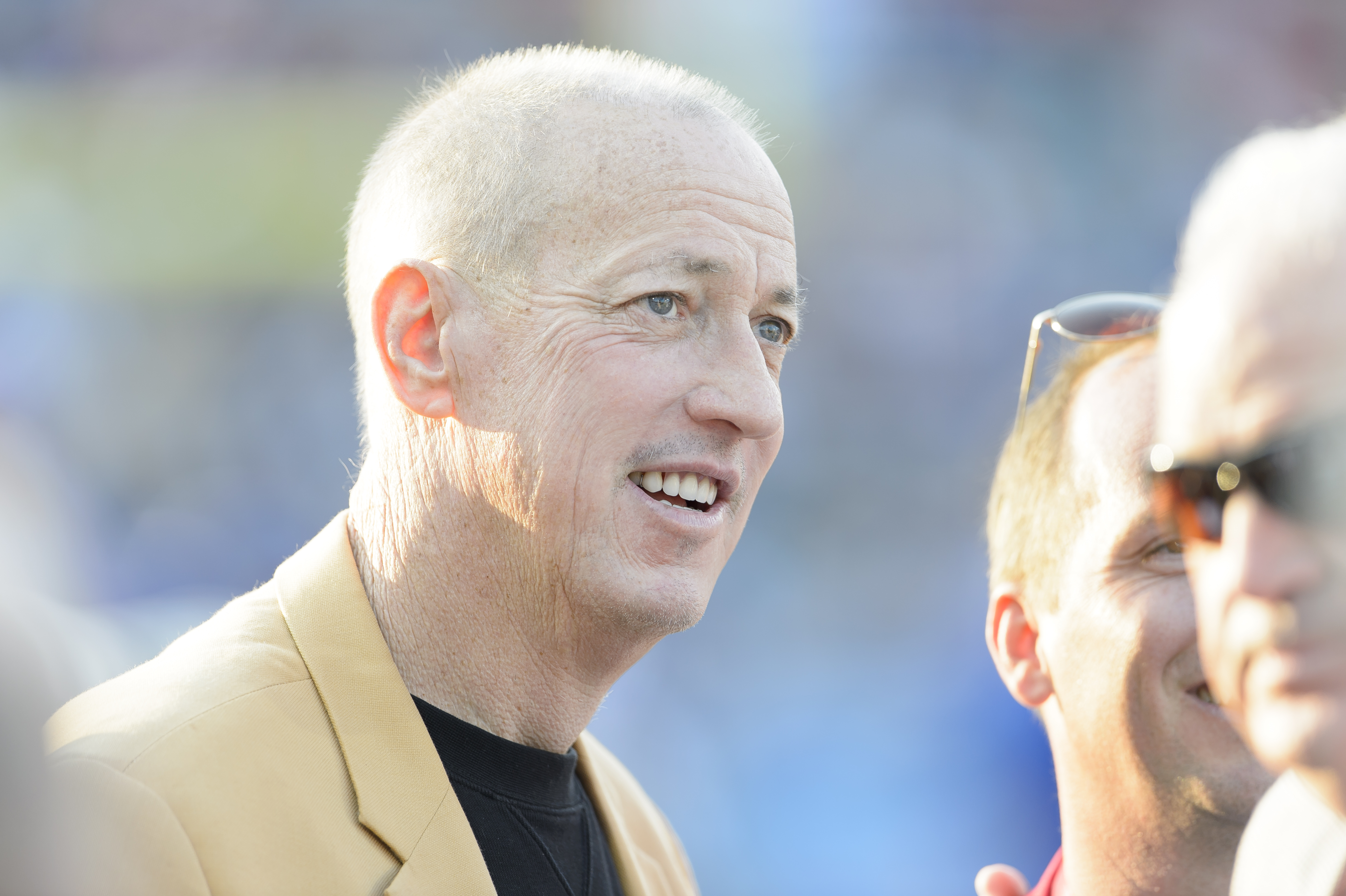 Jim Kelly (pictured) could end up co-owner of the Bills with Bon Jovi.