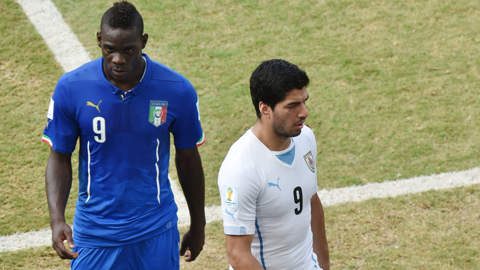 One following the other: Italy's Mario Balotelli, left, takes the place of Uruguay's Luis Suarez in Liverpool's attack.