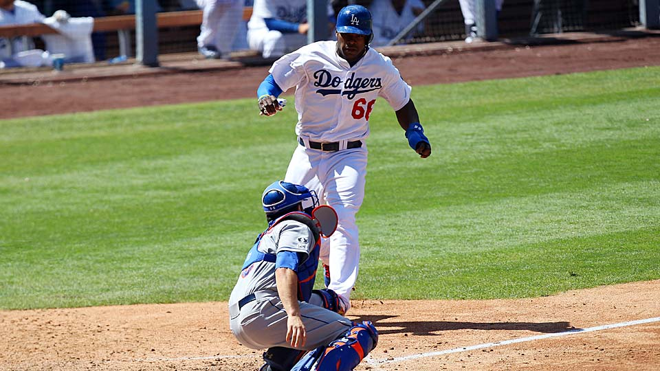 After ignoring a stop signal from Dodgers third base coach Lorenzo Bundy, Yasiel Puig was easily thrown out at home for the third out of a Mets triple play.