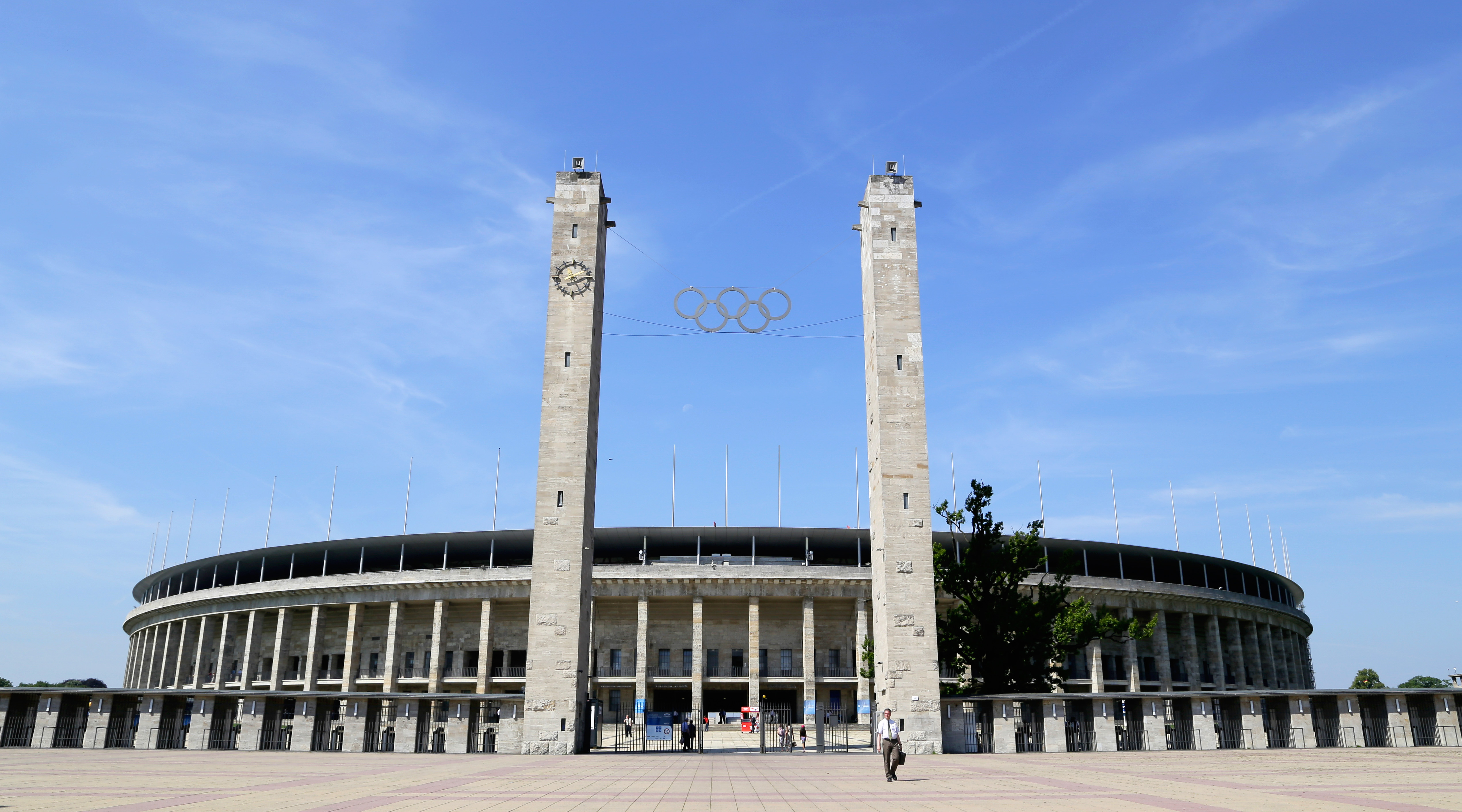 The Olympiastadion (Olympic Stadium) on July 18, 2014 in Berlin, Germany. The current Olympiastadion was originally built for the 1936 Summer Olympics in the southern part of the Olympiapark Berlin.