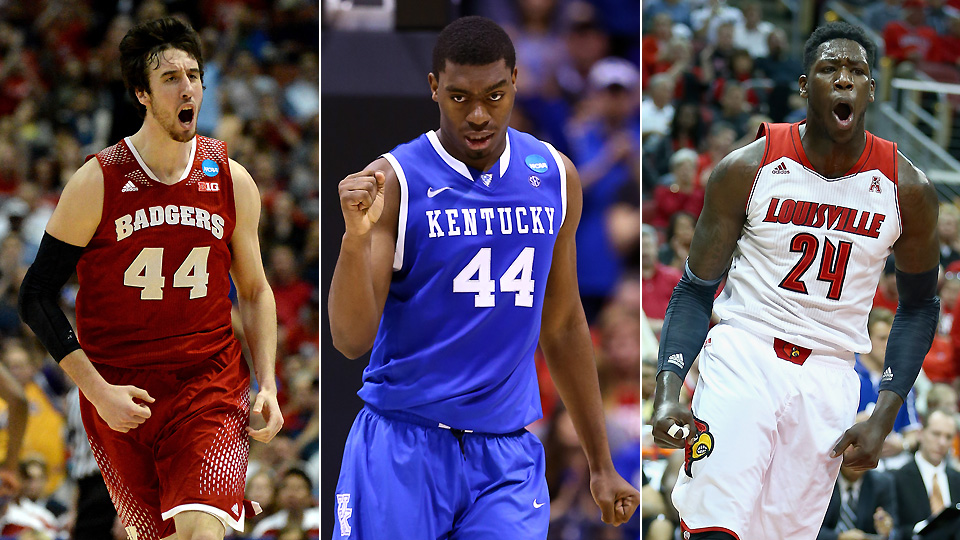 From left to right, Wisconsin's Frank Kaminsky, Kentucky's Dakari Johnson and Louisville's Montrezl Harrell.