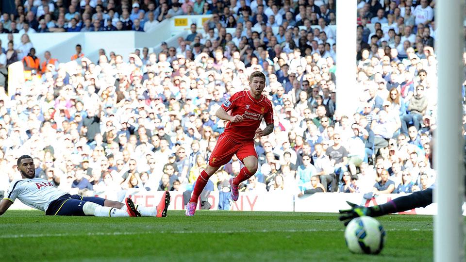 Alberto Moreno scored the last of Liverpool's three goals in a big win at White Hart Lane.