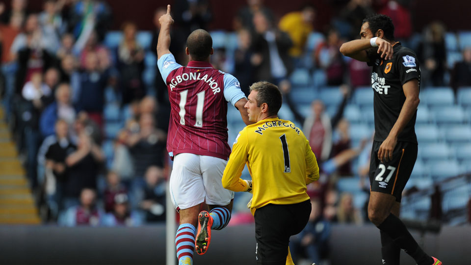 Gabriel Agbonlahor scored Aston Villa's first goal in an eventual 2-1 win over Hull City.