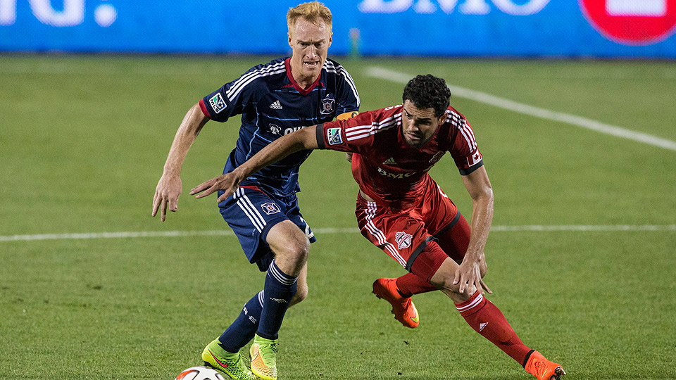 Midfielder Jeff Larentowicz (left), shown here against Toronto FC on Aug. 23, helped set up the winning goal against Dallas FC.