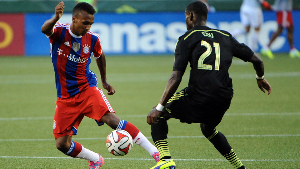 Julian Green, left, takes on fellow U.S. international Maurice Edu in the MLS All-Star Game last month.