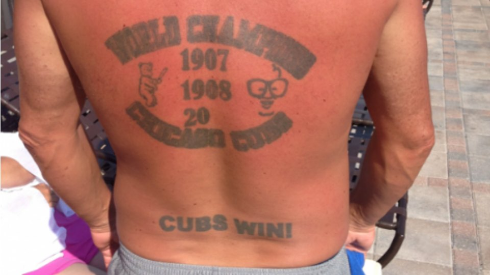 Chicago cubs fan gets world champs tattoo with last 2 for World series tattoo