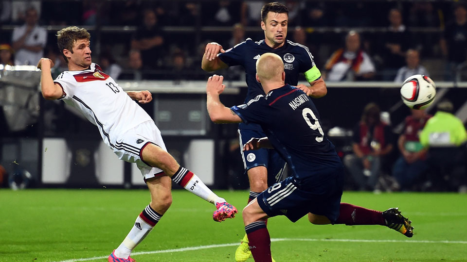 Thomas Muller denied Scotland a famous result away from home, scoring the winning goal for Germany in the 70th minute.