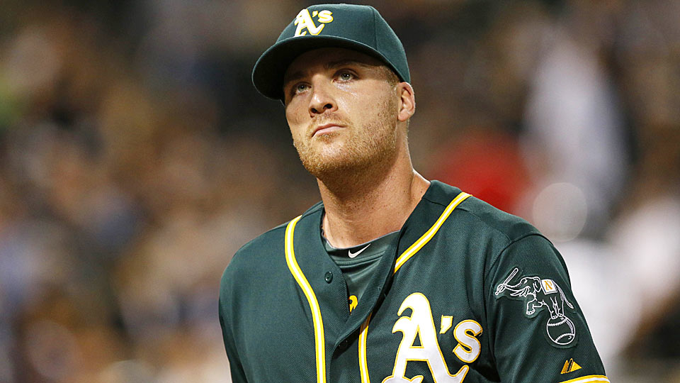 The Athletics' Eric O'Flaherty didn't have much to smile about Monday night, as he gave up the game-tying home run to the White Sox' Tyler Flowers in the 9th inning.