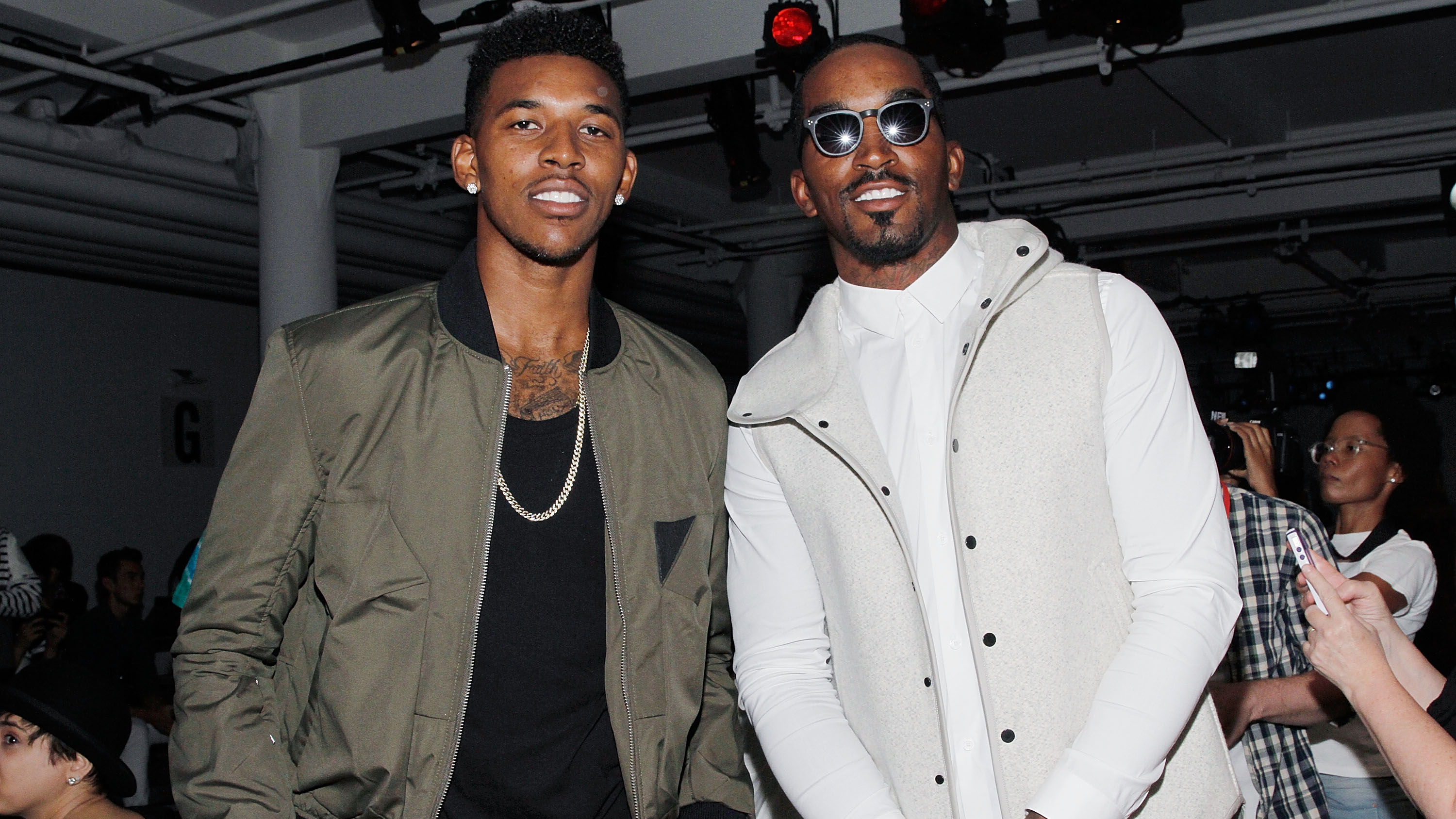 Nick Young with the Knicks' J.R. Smith at New York Fashion Week