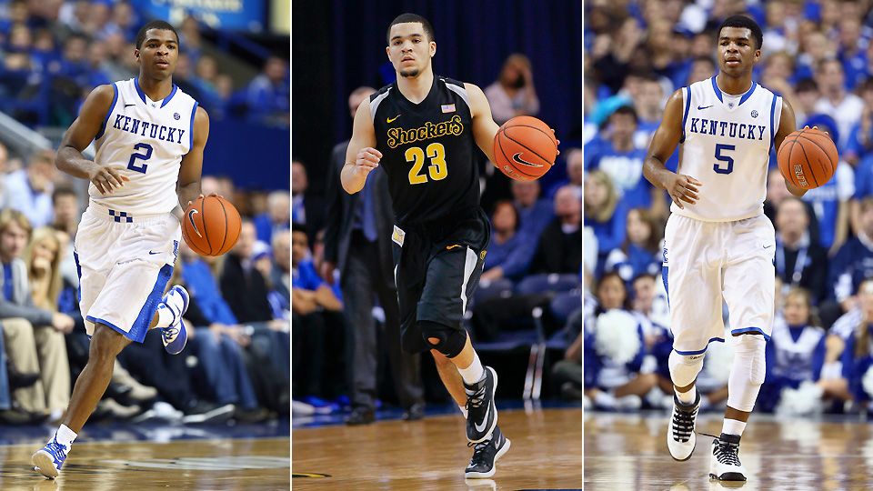From left to right, West Virginia's Juwan State, Wichita State's Fred VanVleet and Kentucky's Andrew Harrison.